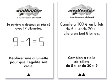 Cartes du jeu Mathador